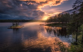 Norway, Ringerike, Island, trees, lake, sunset, clouds
