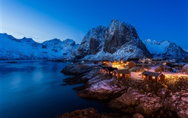 Norway, sea, night, houses, lights, mountains, snow