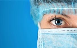 Enfermera, mujer, ojo azul, medicina
