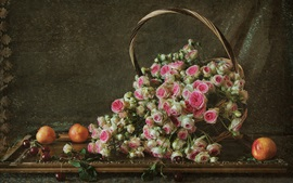 One basket of roses, pink, cherry, nectarines
