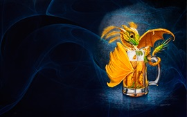 Preview wallpaper One cup beer, dragon, creative picture