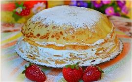 Preview wallpaper Pancakes, cake, strawberry