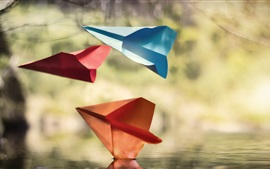 Preview wallpaper Paper aircraft, water