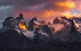 Patagonia, mountains, sky, clouds