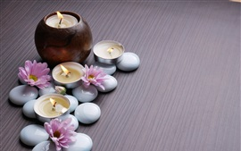 Preview wallpaper Pink chrysanthemum, candles, stones, SPA