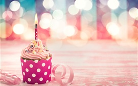 Pink cupcake, candle, ribbon, glare, Birthday