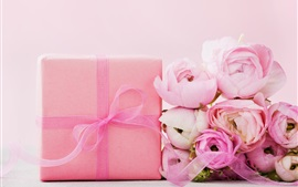 Preview wallpaper Pink roses, gift, ribbon