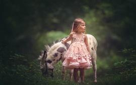 Aperçu fond d'écran Jupe rose petite fille et âne