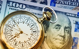Pocket watch, clock, dollar