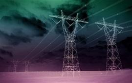 Líneas eléctricas, desierto, noche