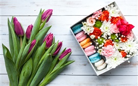 Preview wallpaper Purple tulips, colorful macaron, box, flowers, gift