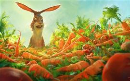 Preview wallpaper Rabbit, many carrots, art painting