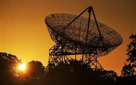 Preview wallpaper Radio telescope, antenna, morning, sunrise