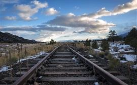 Ferrovia, árvores, neve, inverno, nuvens