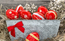 Preview wallpaper Red Easter eggs, hay