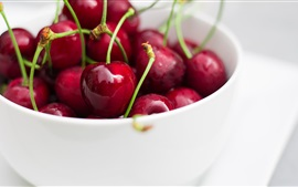 Preview wallpaper Red cherries, white bowl