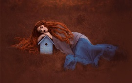 Preview wallpaper Red hair girl sleeping, bird house