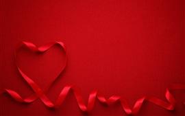 Coração vermelho amor, fita, fundo vermelho