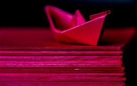 Red paper ship