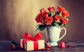 Preview wallpaper Red roses, cup, gift, romantic