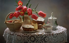 Red tulips, eggs, bread, tea, kettle, Easter