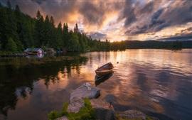Ringerike, Noruega, lago, barco, nascer do sol
