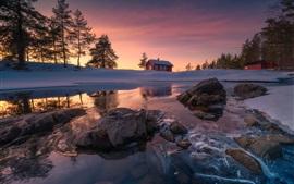 Município de Ringerike, Noruega, neve, rochas, lago, inverno