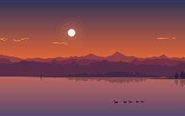 Река, горы, утки, солнце, сумерки, векторная графика