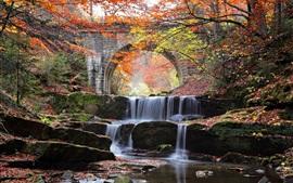 River, waterfall, bridge, stones, trees, autumn
