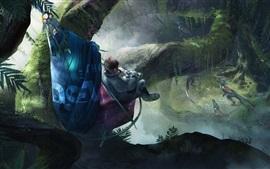 Robinson: El viaje, astronauta, jungla, raptores, videojuego