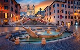 Roma, fuente, iglesia, noche, Italia