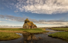Preview wallpaper Romney Marsh, England, church, river, grass, clouds, sky
