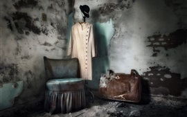 Preview wallpaper Room, clothing, chair, suitcase, dust