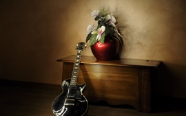 Room, flowers, guitar, wood table