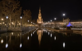 Preview wallpaper San Bernardo, Seville, Andalusia, buildings, night, channel, water, lights