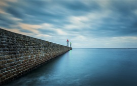 Preview wallpaper Sea, pier, lighthouse, dusk