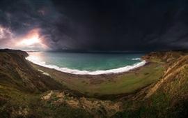 Mar, costa, tempestade, nuvens