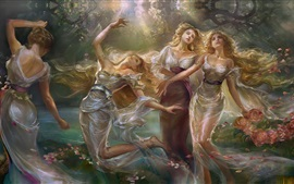 Sisters, dance girls, flowers, art painting