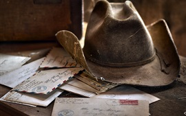 Preview wallpaper Some old letters, hat, dust