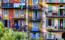 Preview wallpaper Sospel, France, balcony, houses