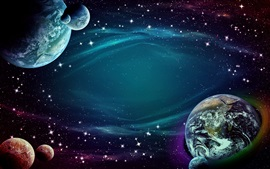 Espacio, estrellas, tierra, planetas, diseño creativo
