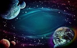 Space, stars, earth, planets, creative design