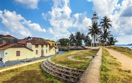 Preview wallpaper Sri Lanka, Galle fort, lighthouse, palm trees