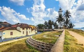 Sri Lanka, fuerte de Galle, faro, palmeras