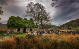 Stone house, grass, trees, clouds, countryside
