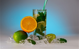Summer drinks, lemonade, orange, lime, kiwi, mint