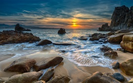 Sunset, sea, stones, nature landscape