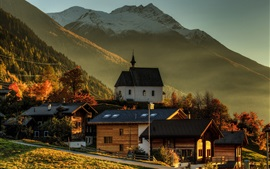 Preview wallpaper Switzerland, Wallis, houses, mountains, trees, morning, autumn