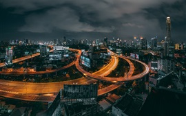 Preview wallpaper Thailand, Bangkok, roads, city, night, lights