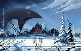 Preview wallpaper The Banner Saga, video game, monster, winter, snow, village, art picture